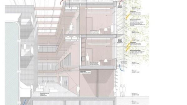 """© Bauvorlage """"Zentrum für Energie- und Wassermanagement"""" - Fassadenschnitt"""
